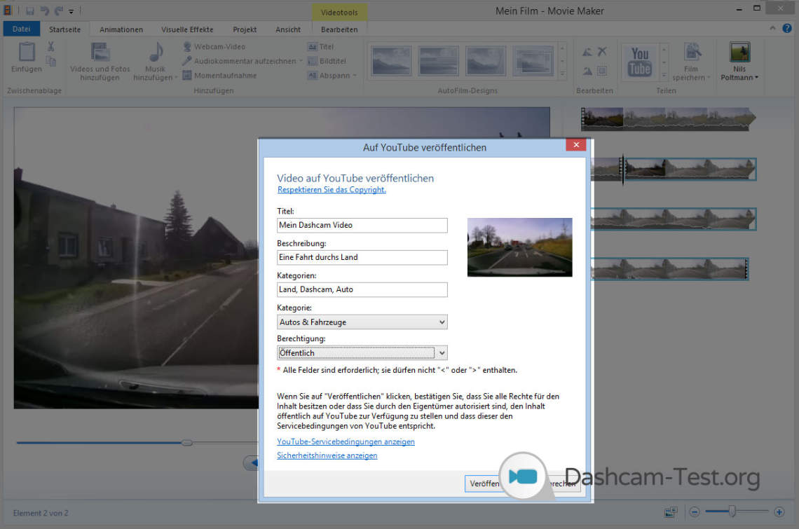 Windows Movie Maker - Wie lade ich das Dashcam Video auf YouTube hoch?