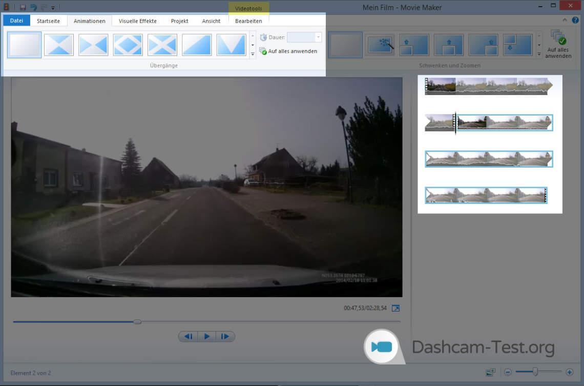Windows Movie Maker - Wie füge ich Übergänge ein?