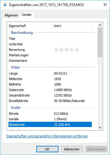 Bitrate der AUKEY DR01